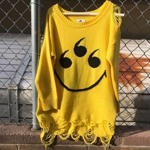 Unif 666 Smiley Yellow Distressed Sweater